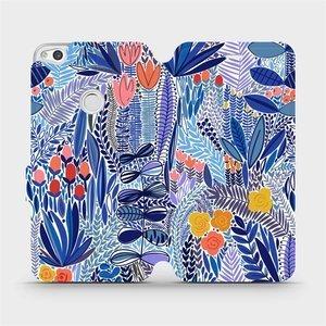 Flip pouzdro Mobiwear na mobil Huawei P9 Lite 2017 - MP03P Modrá květena
