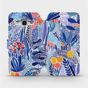 Flip pouzdro Mobiwear na mobil Samsung Galaxy J3 2016 - MP03P Modrá květena