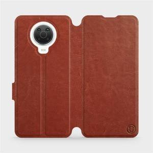 Flip pouzdro Mobiwear na mobil Nokia G20 v provedení C_BRP Brown&Orange s oranžovým vnitřkem