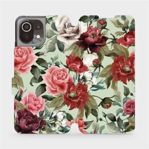 Flip pouzdro Mobiwear na mobil Xiaomi 11 Lite 5G NE - MD06P Růže a květy na světle zeleném pozadí