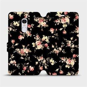 Flipové pouzdro Mobiwear na mobil Xiaomi Redmi Note 4 Global - VD02S Květy na černé