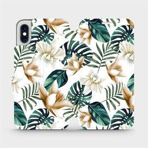 Flipové pouzdro Mobiwear na mobil Apple iPhone XS - MC07P Zlatavé květy a zelené listy