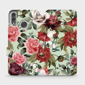 Flipové pouzdro Mobiwear na mobil Honor 8X - MD06P Růže a květy na světle zeleném pozadí