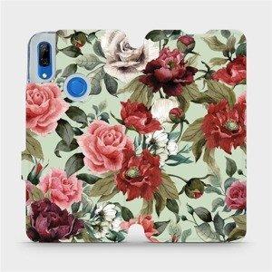 Flipové pouzdro Mobiwear na mobil Huawei P Smart Z - MD06P Růže a květy na světle zeleném pozadí
