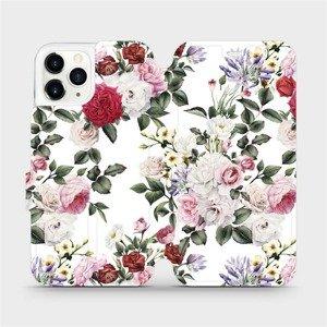 Flipové pouzdro Mobiwear na mobil Apple iPhone 11 Pro - MD01S Růže na bílé