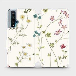 Flipové pouzdro Mobiwear na mobil Huawei Nova 5T - MD03S Tenké rostlinky s květy
