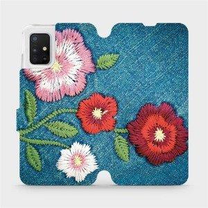 Flipové pouzdro Mobiwear na mobil Samsung Galaxy A51 - MD05P Džínové květy