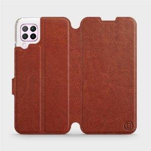 Flipové pouzdro Mobiwear na mobil Huawei P40 Lite v provedení C_BRP Brown&Orange s oranžovým vnitřkem