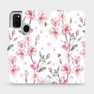 Flipové pouzdro Mobiwear na mobil Samsung Galaxy M21 - M124S Růžové květy