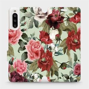 Flipové pouzdro Mobiwear na mobil Sony Xperia 10 II - MD06P Růže a květy na světle zeleném pozadí