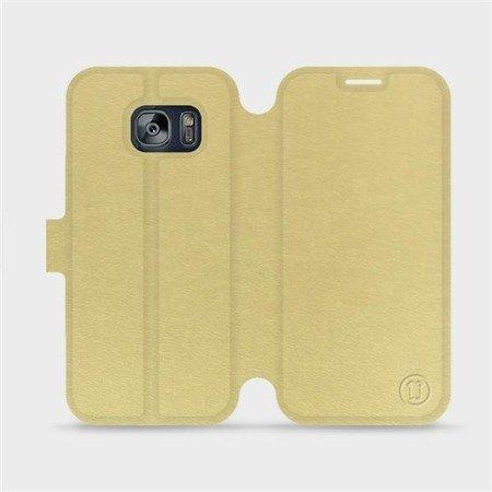 Parádní flip pouzdro Mobiwear na mobil Samsung Galaxy S7 v provedení C_GOP Gold&Orange s oranžovým vnitřkem