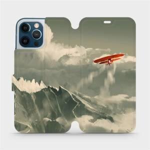 Flipové pouzdro Mobiwear na mobil Apple iPhone 12 Pro Max - MA03P Oranžové letadlo v horách