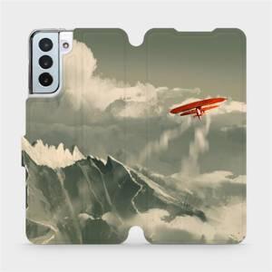 Flipové pouzdro Mobiwear na mobil Samsung Galaxy S21 Plus 5G - MA03P Oranžové letadlo v horách