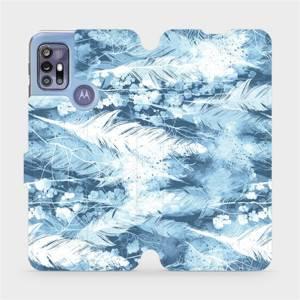 Flipové pouzdro Mobiwear na mobil Motorola Moto G30 - M058S Světle modrá horizontální pírka
