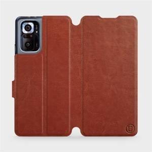 Flipové pouzdro Mobiwear na mobil Xiaomi Redmi Note 10 Pro v provedení C_BRP Brown&Orange s oranžovým vnitřkem