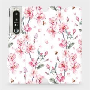Flip pouzdro Mobiwear na mobil Sony Xperia 1 III - M124S Růžové květy