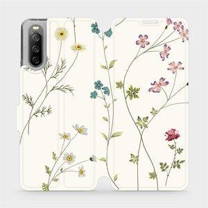 Flip pouzdro Mobiwear na mobil Sony Xperia 10 III - MD03S Tenké rostlinky s květy