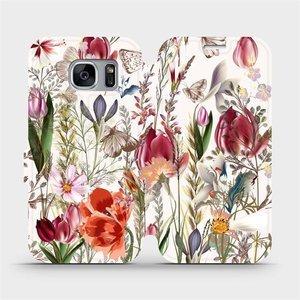 Flip pouzdro Mobiwear na mobil Samsung Galaxy S7 Edge - MP01S Rozkvetlá louka