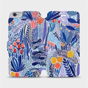 Flip pouzdro Mobiwear na mobil Apple iPhone 6s Plus / iPhone 6 Plus - MP03P Modrá květena