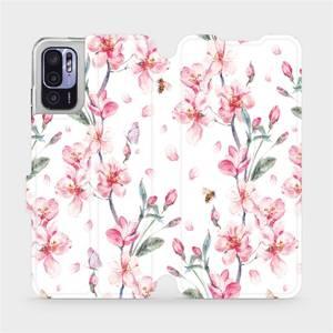 Flip pouzdro Mobiwear na mobil Xiaomi Redmi Note 10 5G - M124S Růžové květy