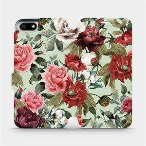 Flipové pouzdro Mobiwear na mobil Honor 7S - MD06P Růže a květy na světle zeleném pozadí