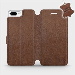 Etui ze skóry naturalnej do Apple iPhone 7 Plus - wzór Brown Leather
